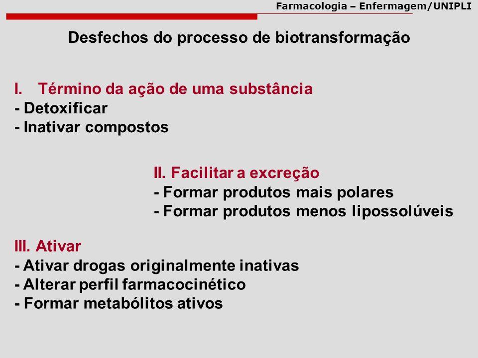 Desfechos do processo de biotransformação