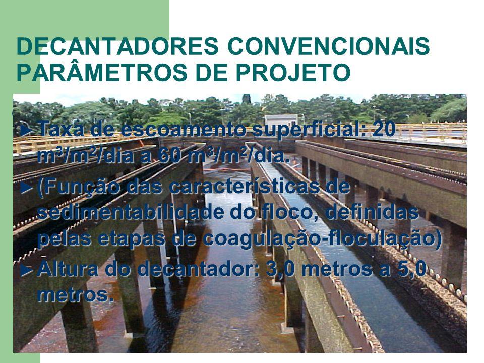 DECANTADORES CONVENCIONAIS PARÂMETROS DE PROJETO