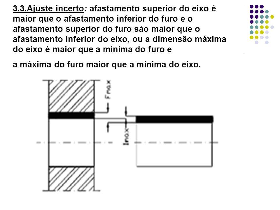3.3.Ajuste incerto: afastamento superior do eixo é maior que o afastamento inferior do furo e o afastamento superior do furo são maior que o afastamento inferior do eixo, ou a dimensão máxima do eixo é maior que a mínima do furo e a máxima do furo maior que a mínima do eixo.