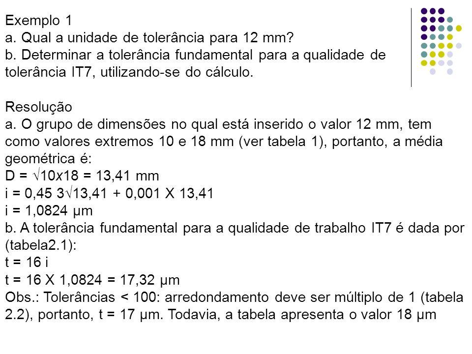 Exemplo 1 a. Qual a unidade de tolerância para 12 mm b. Determinar a tolerância fundamental para a qualidade de.