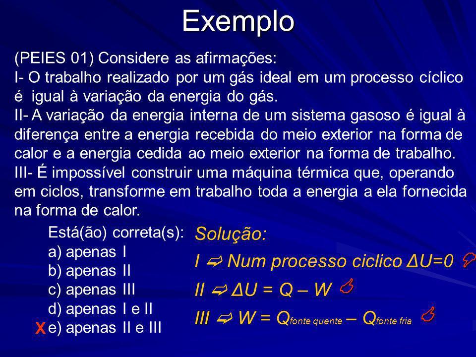 Exemplo Solução: I  Num processo ciclico ΔU=0  II  ΔU = Q – W 