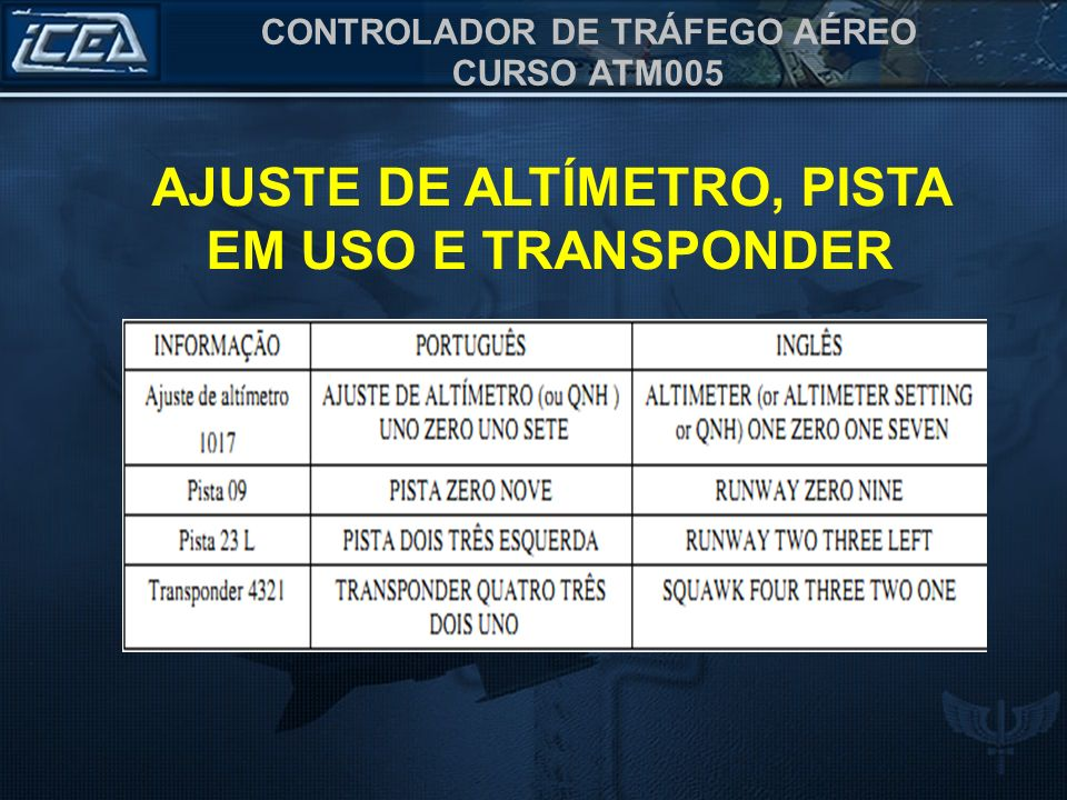 AJUSTE DE ALTÍMETRO, PISTA EM USO E TRANSPONDER