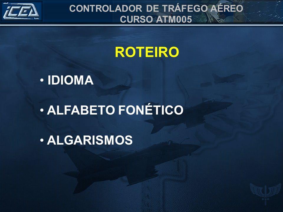 ROTEIRO IDIOMA ALFABETO FONÉTICO ALGARISMOS