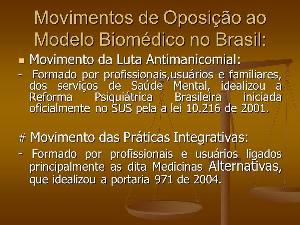 Movimentos de Oposição ao Modelo Biomédico no Brasil: