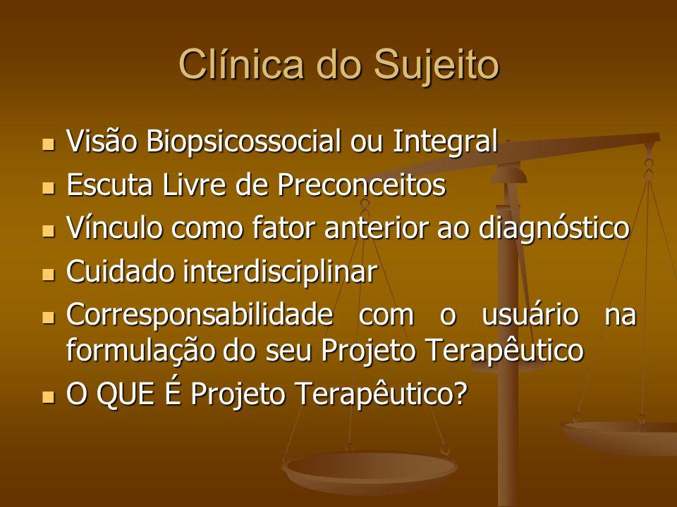 Clínica do Sujeito Visão Biopsicossocial ou Integral