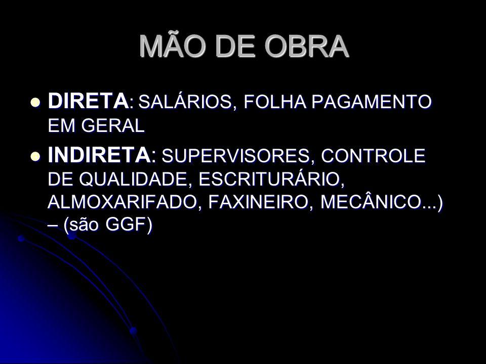 MÃO DE OBRA DIRETA: SALÁRIOS, FOLHA PAGAMENTO EM GERAL