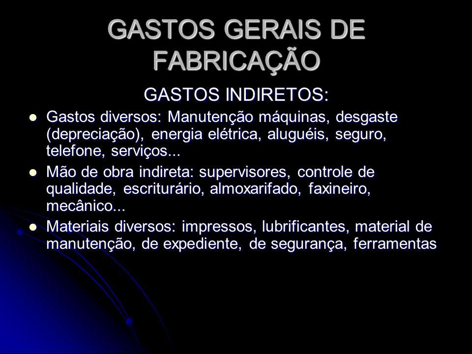 GASTOS GERAIS DE FABRICAÇÃO