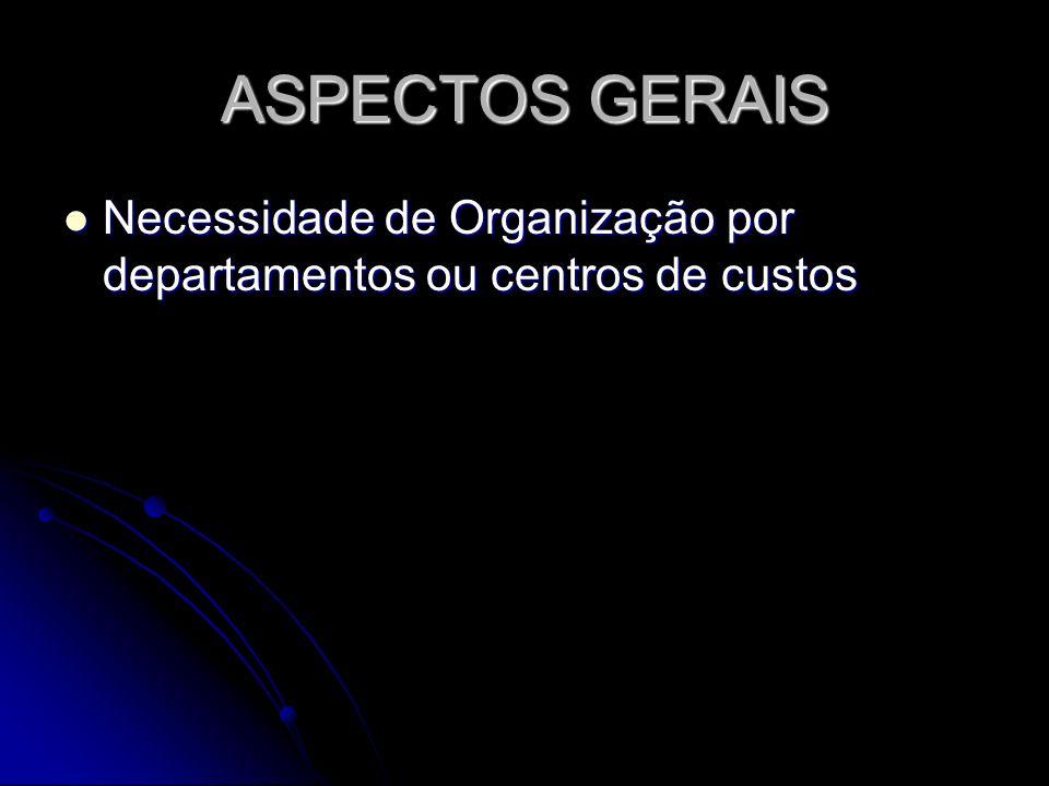 ASPECTOS GERAIS Necessidade de Organização por departamentos ou centros de custos