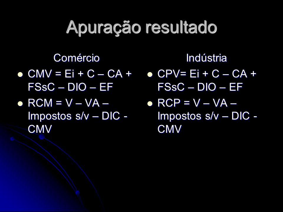 Apuração resultado Comércio CMV = Ei + C – CA + FSsC – DIO – EF