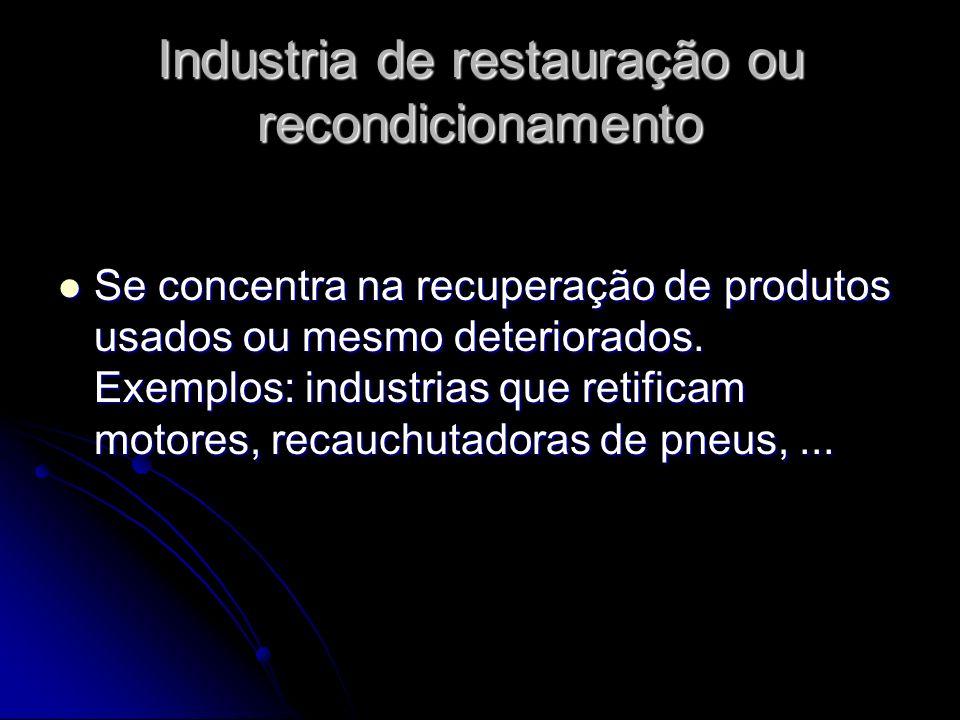 Industria de restauração ou recondicionamento