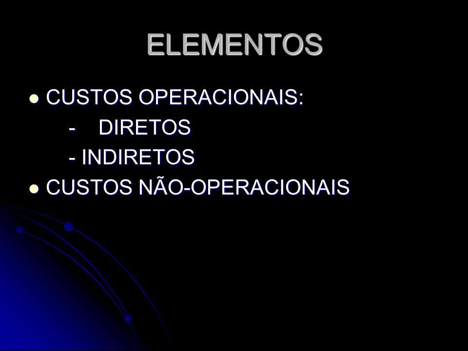 ELEMENTOS CUSTOS OPERACIONAIS: - DIRETOS - INDIRETOS