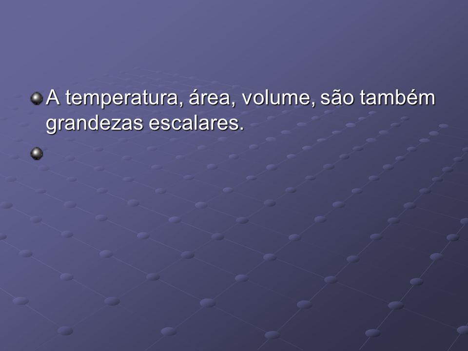 A temperatura, área, volume, são também grandezas escalares.