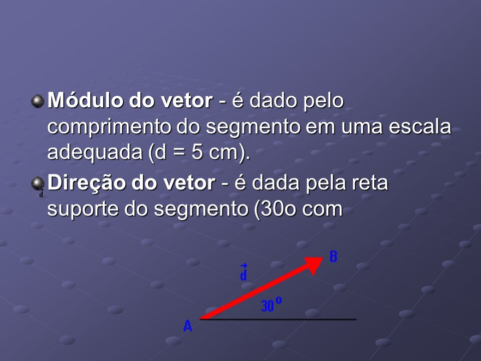 Módulo do vetor - é dado pelo comprimento do segmento em uma escala adequada (d = 5 cm).