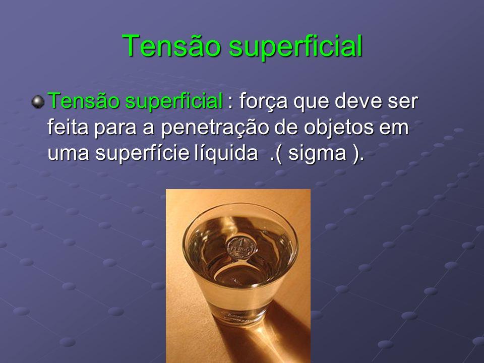 Tensão superficial Tensão superficial : força que deve ser feita para a penetração de objetos em uma superfície líquida .( sigma ).