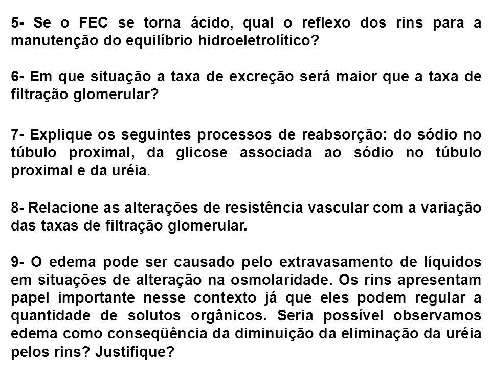 5- Se o FEC se torna ácido, qual o reflexo dos rins para a manutenção do equilíbrio hidroeletrolítico