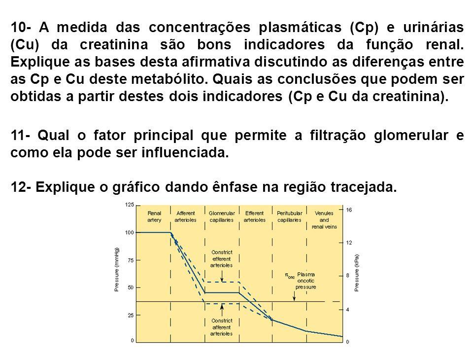10- A medida das concentrações plasmáticas (Cp) e urinárias (Cu) da creatinina são bons indicadores da função renal. Explique as bases desta afirmativa discutindo as diferenças entre as Cp e Cu deste metabólito. Quais as conclusões que podem ser obtidas a partir destes dois indicadores (Cp e Cu da creatinina).