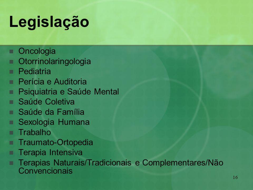 Legislação Oncologia Otorrinolaringologia Pediatria