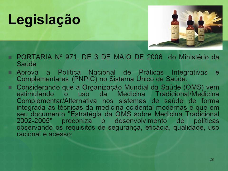 Legislação PORTARIA Nº 971, DE 3 DE MAIO DE 2006 do Ministério da Saúde.