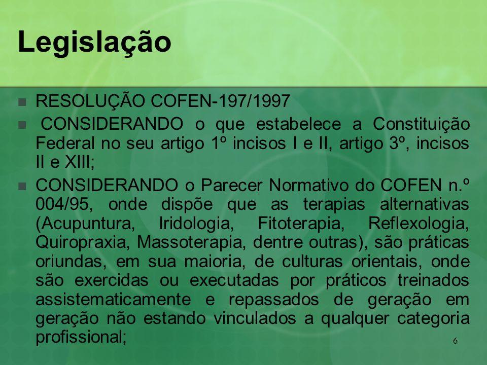Legislação RESOLUÇÃO COFEN-197/1997