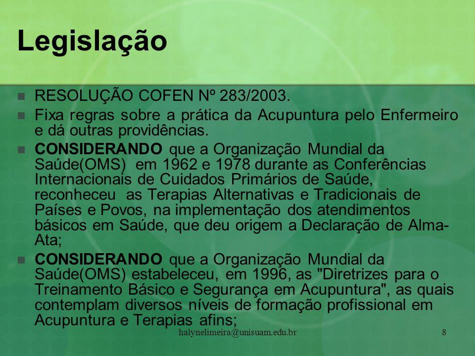 Legislação RESOLUÇÃO COFEN Nº 283/2003.