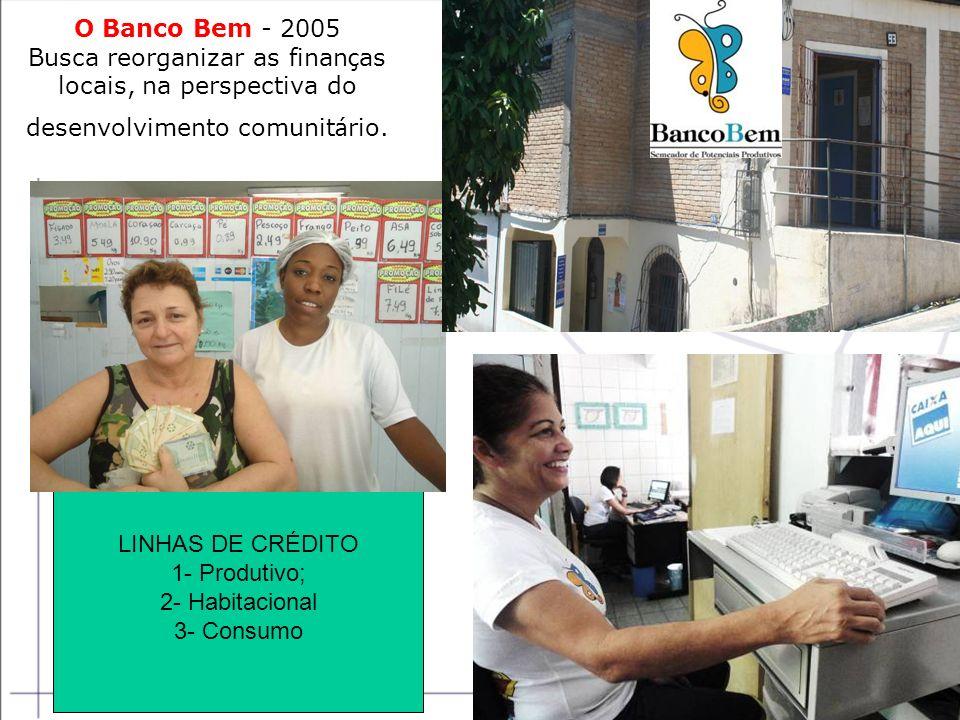 O Banco Bem - 2005 Busca reorganizar as finanças locais, na perspectiva do desenvolvimento comunitário.