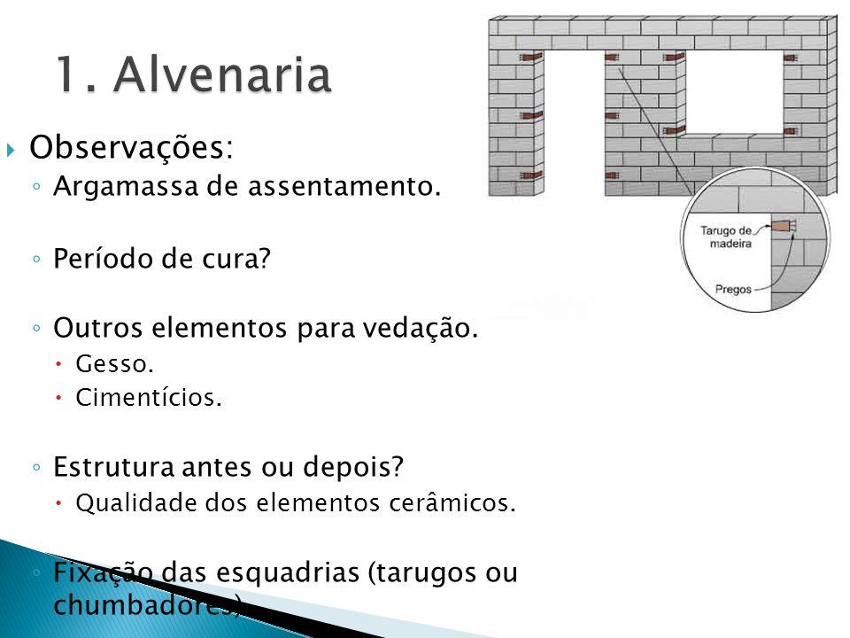 1. Alvenaria Observações: Argamassa de assentamento. Período de cura