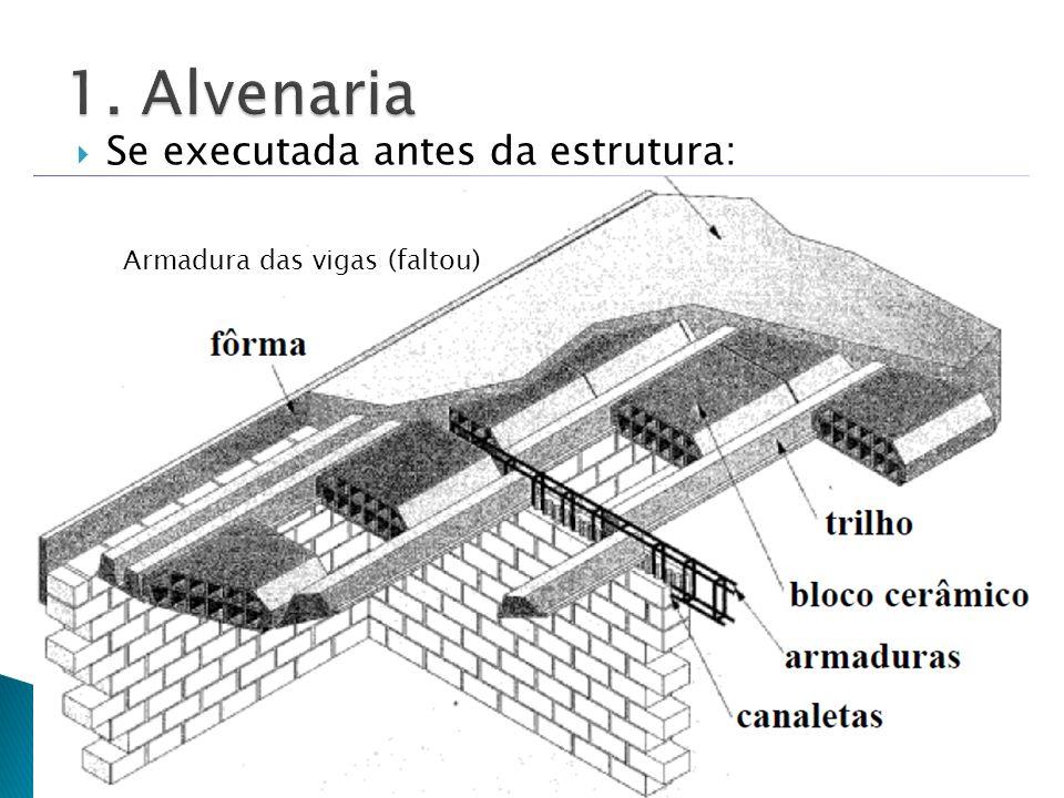 1. Alvenaria Se executada antes da estrutura: