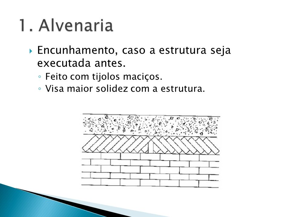 1. Alvenaria Encunhamento, caso a estrutura seja executada antes.