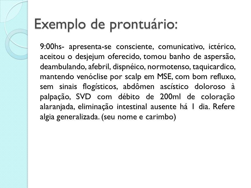 Exemplo de prontuário: