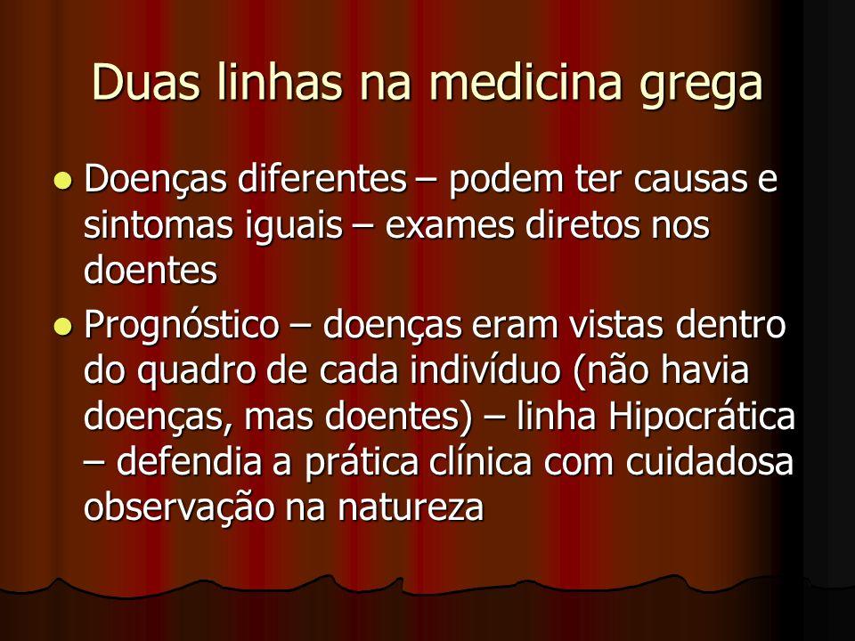 Duas linhas na medicina grega