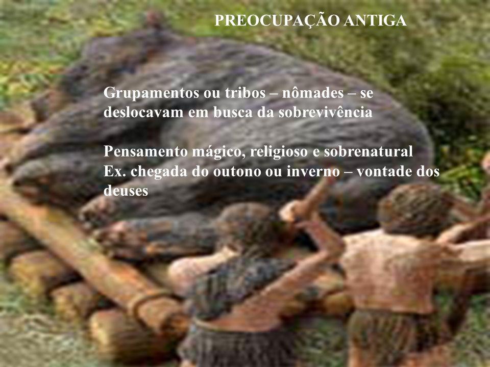 PREOCUPAÇÃO ANTIGA Grupamentos ou tribos – nômades – se deslocavam em busca da sobrevivência. Pensamento mágico, religioso e sobrenatural.