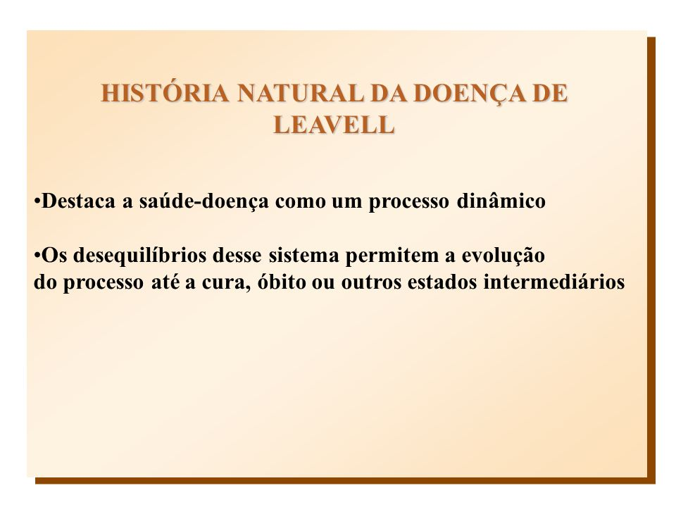 HISTÓRIA NATURAL DA DOENÇA DE LEAVELL