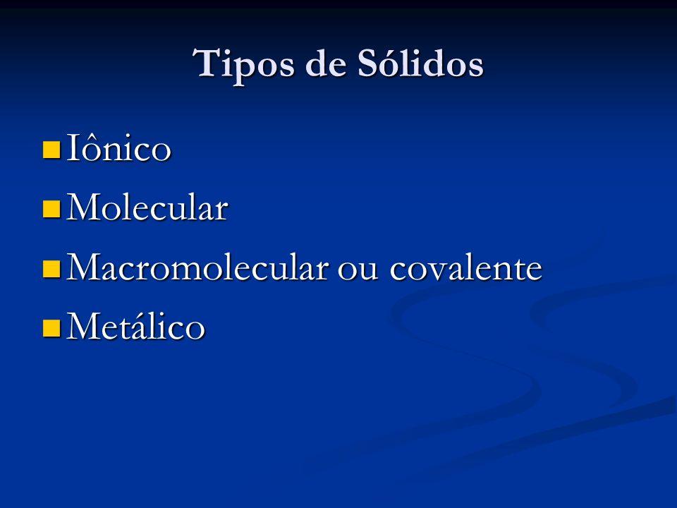 Tipos de Sólidos Iônico Molecular Macromolecular ou covalente Metálico
