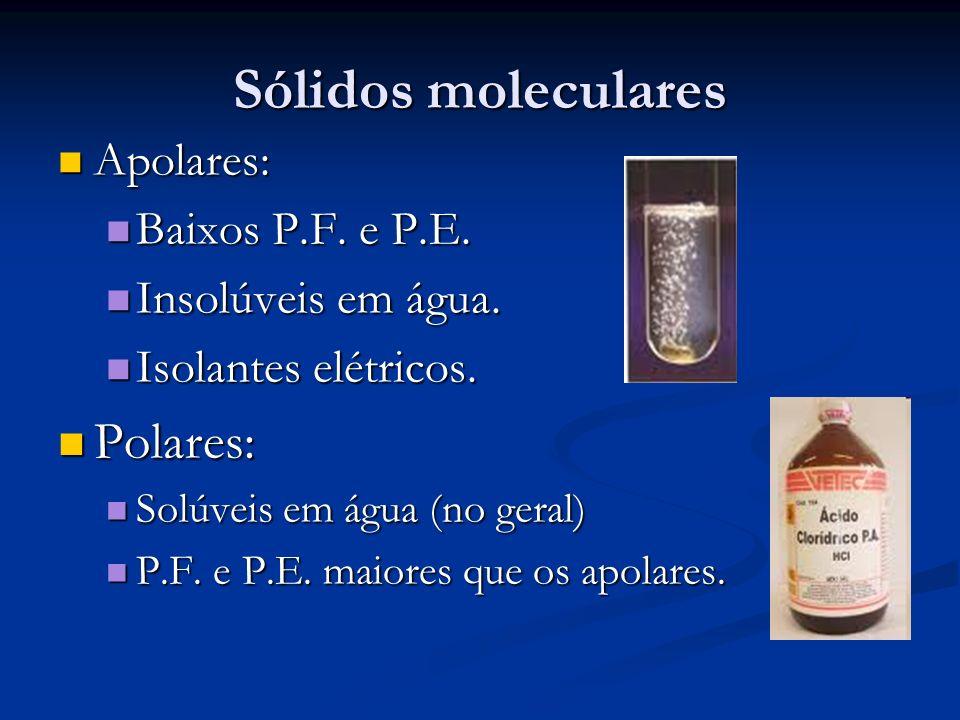 Sólidos moleculares Polares: Apolares: Baixos P.F. e P.E.
