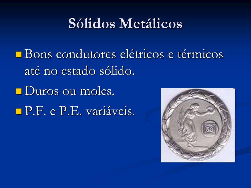 Sólidos Metálicos Bons condutores elétricos e térmicos até no estado sólido.