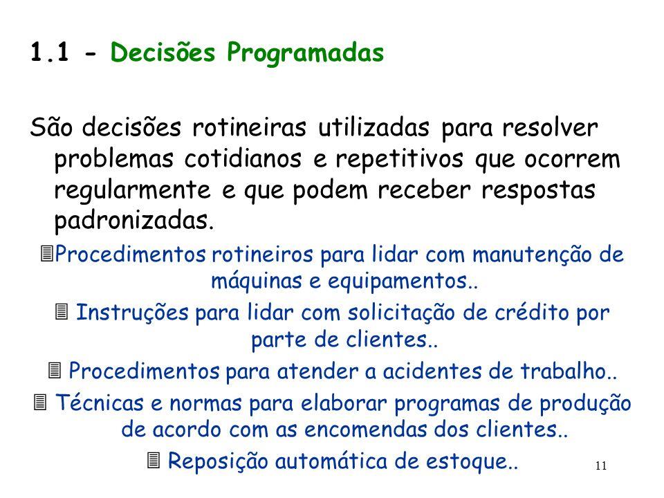 1.1 - Decisões Programadas
