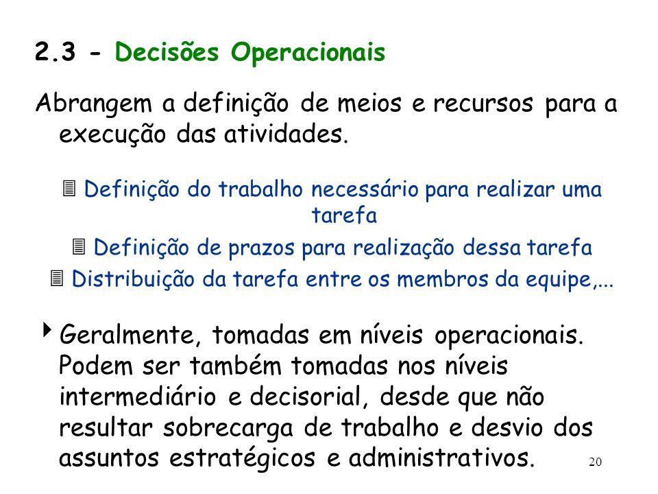 2.3 - Decisões Operacionais