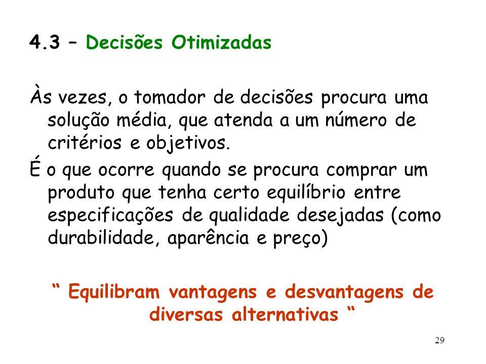Equilibram vantagens e desvantagens de diversas alternativas
