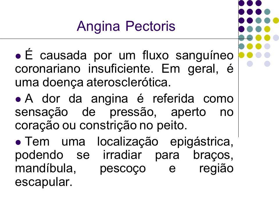 Angina Pectoris É causada por um fluxo sanguíneo coronariano insuficiente. Em geral, é uma doença aterosclerótica.