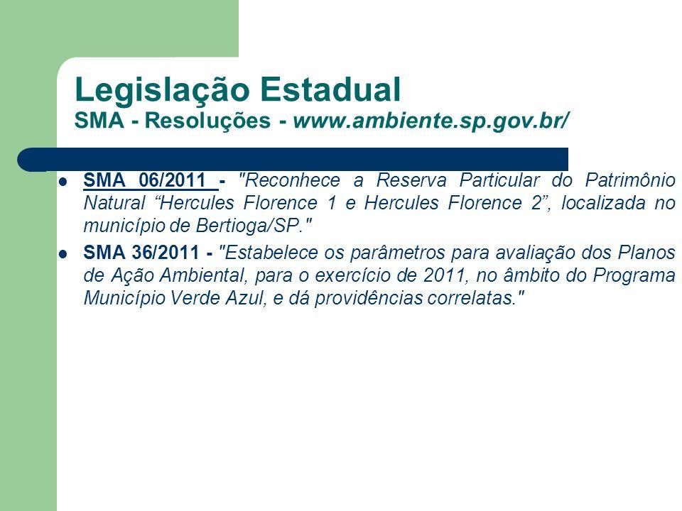 Legislação Estadual SMA - Resoluções - www.ambiente.sp.gov.br/