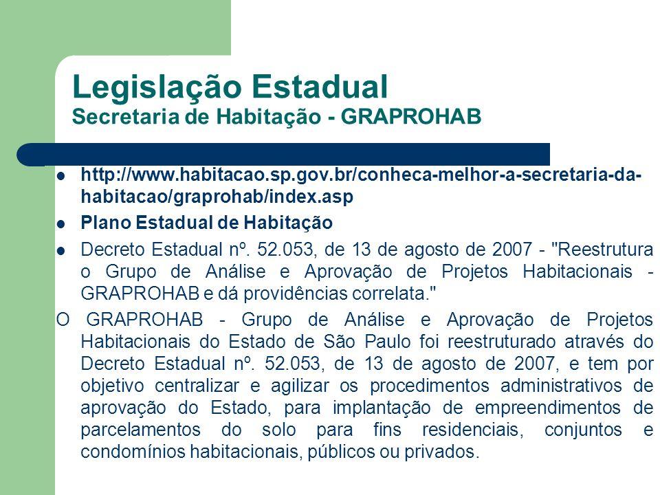 Legislação Estadual Secretaria de Habitação - GRAPROHAB