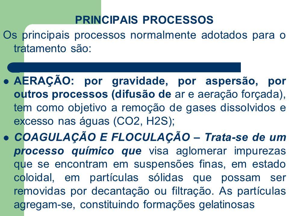 PRINCIPAIS PROCESSOS Os principais processos normalmente adotados para o tratamento são: