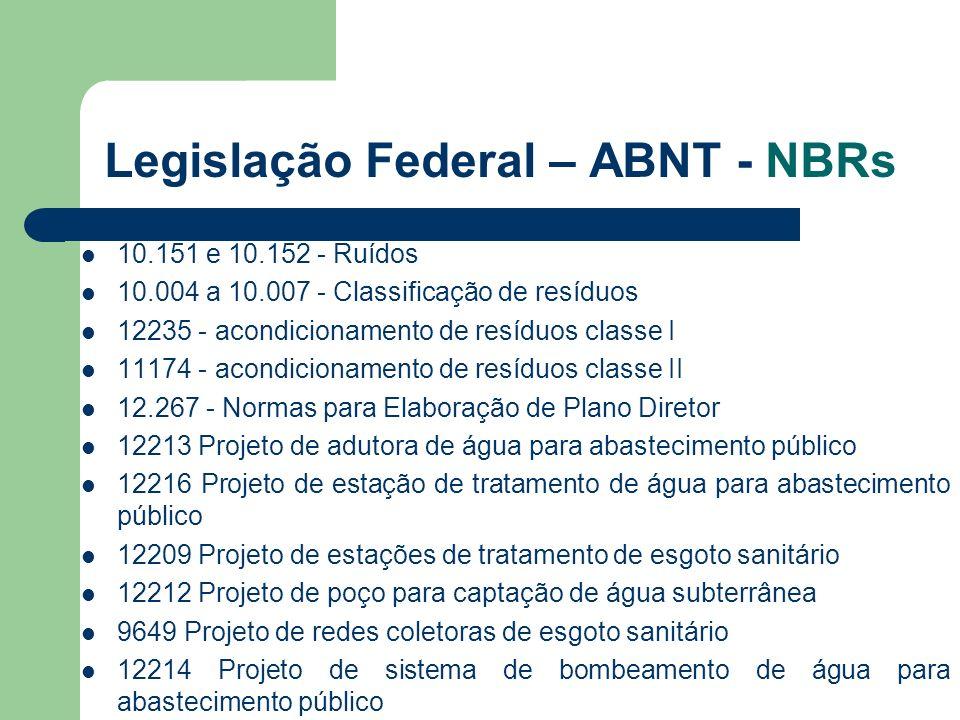 Legislação Federal – ABNT - NBRs