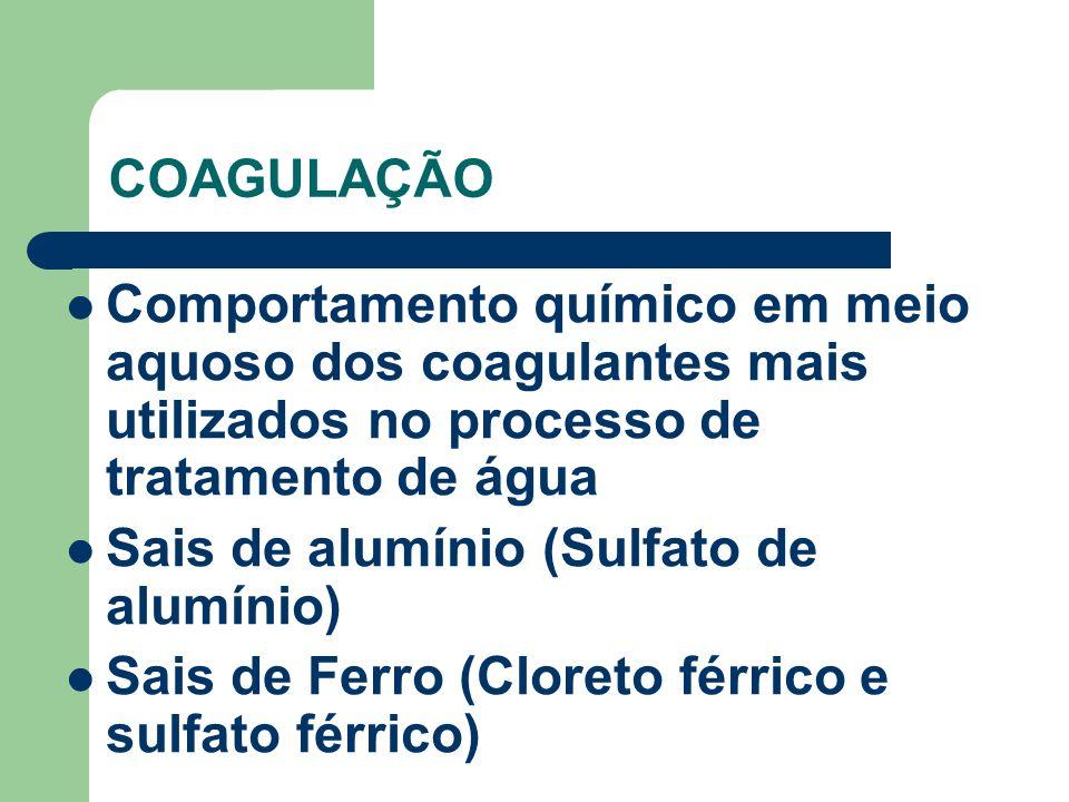 COAGULAÇÃO Comportamento químico em meio aquoso dos coagulantes mais utilizados no processo de tratamento de água.