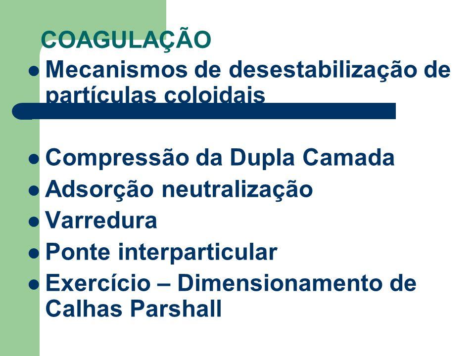 COAGULAÇÃOMecanismos de desestabilização de partículas coloidais. Compressão da Dupla Camada. Adsorção neutralização.