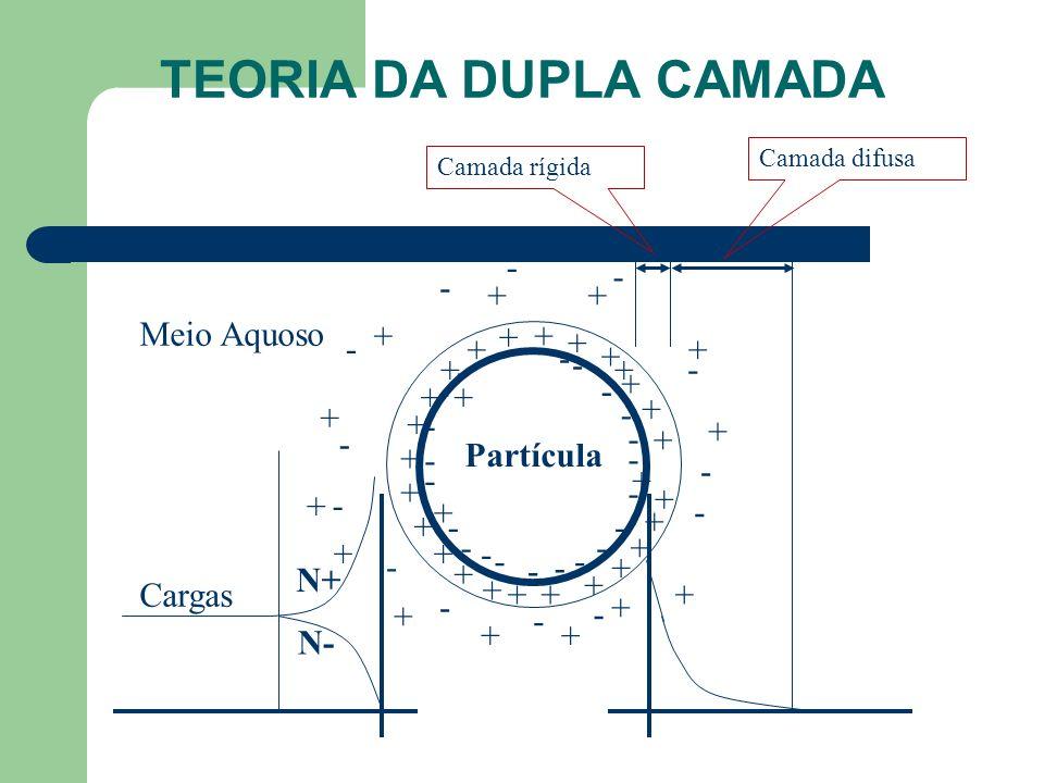 TEORIA DA DUPLA CAMADA Meio Aquoso - Partícula + N+ Cargas N-