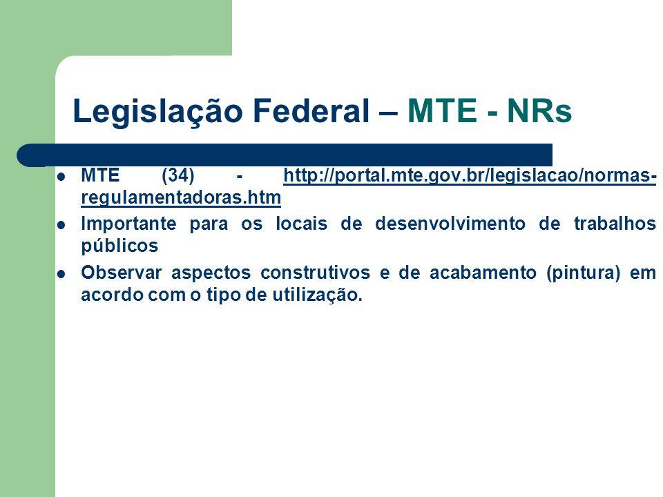 Legislação Federal – MTE - NRs