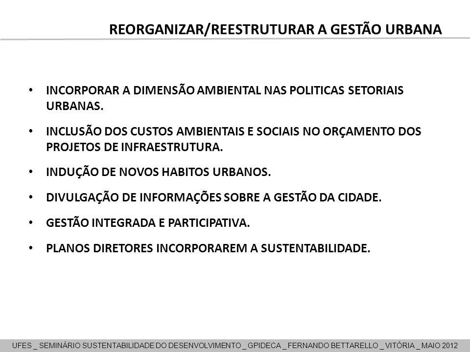 REORGANIZAR/REESTRUTURAR A GESTÃO URBANA