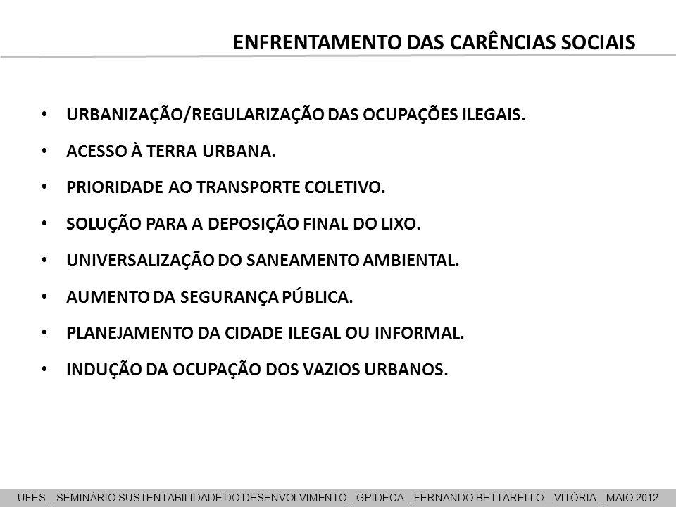 ENFRENTAMENTO DAS CARÊNCIAS SOCIAIS