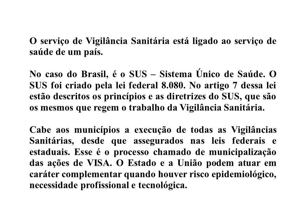 O serviço de Vigilância Sanitária está ligado ao serviço de saúde de um país.